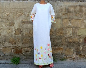 SALE ON 20 % OFF White dress/ Linen dress/ Handpained white linen dress/ Maxi dress/ Long dress/ Caftan/ Plus size dress/ Plus size clothing