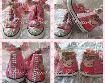 Peppa Pig Themed Converse Shoes - Peppa Pig Birthday - Custom Crystal Rhinestone Converse Shoes - Peppa Pig Birthday Shoes