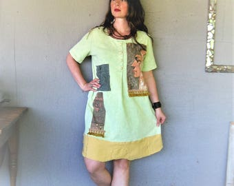 upcycled clothing Tshirt tunic Aline dress Boho Bohemian clothing reclaimed recycled Large X L Wearable art fun clothes LillieNoraDryGoods