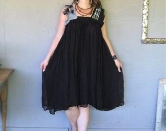upcycled Hippie dress oversize gauze clothing Boho chic flowing Bohemian festival Dress L X Large Eco recycled dress LillieNoraDryGoods