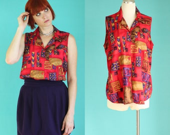 Vintage 90s Sleeveless Blouse - Red Blouse - Tribal Print Summer Blouse - Colorful Shirts - 90s Shirt - Sleeveless Top - Size Large