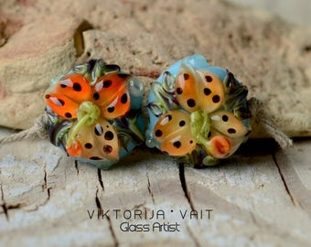 Handmade Lampwork Beads Glass Lilies Orange Flower Pair SRA Artisan Glass Beads Blue Ornated Floral Orange