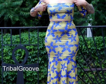 Blue and Yellow Off the Shoulder Fishtail Two Piece Stretch Skirt Set - Plus Sizes Available