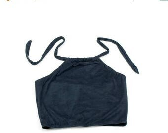 50% OFF Suede Crop Top Black Stretch Halter Festival Wear