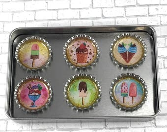 Ice Cream Magnets Refrigerator Magnets Bottle Cap Magnets Repurposed Accessories Dessert Gift Set Ice Cream Popsicle Magnets