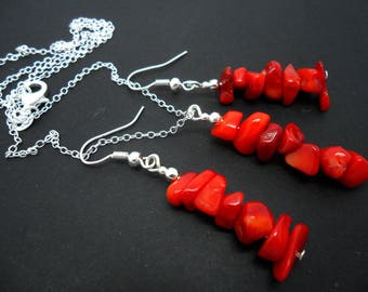 A hand made red coral chips necklace and  earring set.