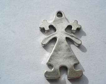 42mm Antique Silver Alloy Girl Pendants, Lead and Cadmium Free, Pair of Silver Girl Pendants, C362