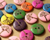 10 pc. Wood Tree Buttons, Multi-Colored Mix, 20mm diameter | MIS-138