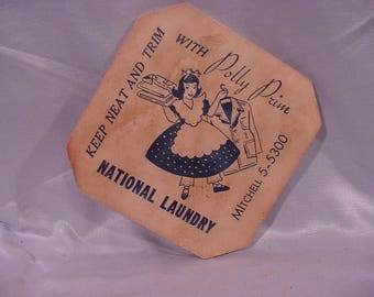Vintage Advertising Plant Coaster Advertising Polly Prim National Laundry