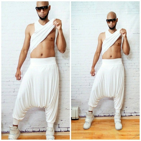 White Stretch Jersey Harem Pants Stretch Jersey UnisexInspired By -Y3, Rick Owens, Issey Miyake, YohJi Yamamoto perfect for  Burningman