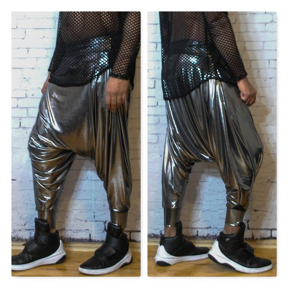 Dropped Crotch Draped Harem Pant Unisex Mens Womens Silver Metallic
