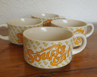 Vintage Soup Mugs- Set of 4- Soups On!