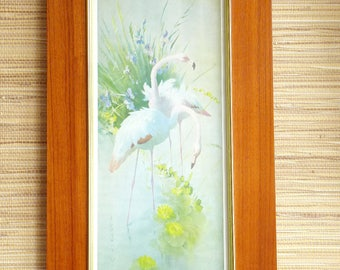 Flamingo Picture Wooden Frame Wall Art - Teak Brass - Wall Hanging Decoration - Mid Century MCM 1950s 1960s - Vernon Ward Vintage