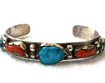 Navajo Sterling Silver Coral and Turquoise Cuff Bracelet Dead Pawn