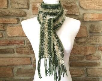 Green scarf, crochet scarf, handmade scarf, forest green scarf, womens scarf, green fashion scarf