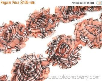 "Summer SALE 10% OFF 2.5"" PRINTED Shabby Rose Trim -Pink Salmon Plaid Patterned- Chiffon Trim - Printed Shabby Trim - Hair Accessories  Suppl"
