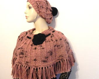 shoulder most hat wool handknit camel / chocolate/black fashion women accessories