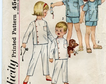 """1960s Simplicity Pattern 4714, Toddler Size 4, Intern Pajamas in two lengths, """"Dr. Kildare"""" PJs, USED, Complete."""