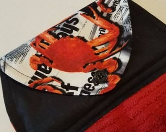 Crab Hanging Kitchen Towel, Maryland Crabs,Newsprint and Crabs, Crab Bake, Housewarming Gifts, Coastal Living, Seafood Button Top Dish Towel