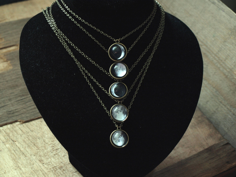 custom moon phase necklace moon phase pendant birth moon