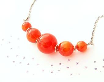 orange glass murano blown glass bubble bead Choker necklace