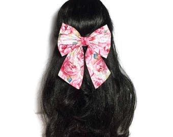 Pink Floral Hair Bow, Large Hair Bow, Cheer Bow, Handmade Bow, Anime Bow, Cosplay Bow, Bow For Girls, Fabric Bow, Kawaii Pink Bow LwT093