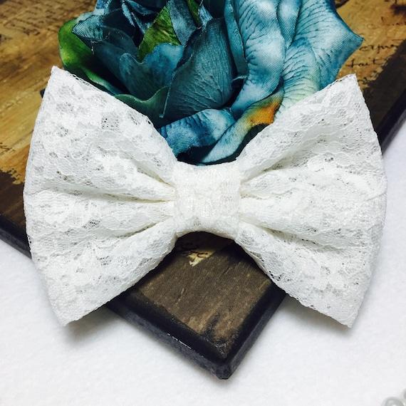 Ivory  Lace Hair Bow/ Girls Hair bow/ Big Bow/ Retro Bow/ Prom- Wedding Dress Bow/ Kawaii Bow/ Girls Bow/ Baby Bows/ Handmade Ivory Lace Bow