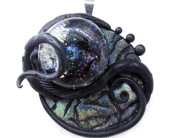Extraterrestrial Divination Stone ~~~~ Holographic Galaxy Biomech Pendant