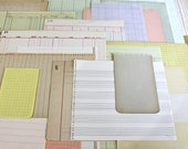 Vintage Junk Journal Supplies*Variety Blank Paper Pack*64 Sheets Graph Ledger Lined Notebook Stationery