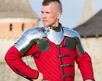 "Steel Gorget and Pauldrons ""Errant Squire""; Steel Armor; Steel Gorget; Medieval Pauldrons"