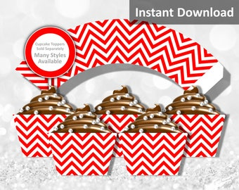 Red Chevron Cupcake Wrapper Instant Download, Party Decorations