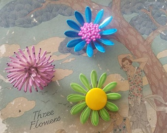 flower power - 3 retro flower brooch pins, funky statement jewelry, instant collection, vintage 1960s fun