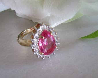 Vintage Pink Pear or Tear Drop Shape CZ and Rhinestone RING in 18K GE Setting, October Birthstone Ring, Anniversary, Gift For Her