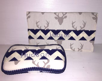 Personalized Wipe Case & Changing Pad Set.  Navy Chevron And Grey Deer Print/Buck Head Print. Free Embroidery