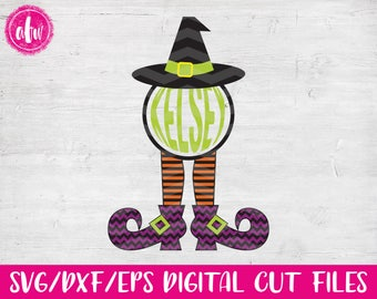 Monogram Witch Legs, SVG, DXF, EPS, Halloween, Fall, Autumn, Chevron, Pattern, Vector, Holiday, Silhouette, Cricut