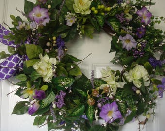 Spring wreath, front door wreath, spring door wreath, summer door wreath, outdoor wreath, housewarming, summer wreath, floral wreath, wreath