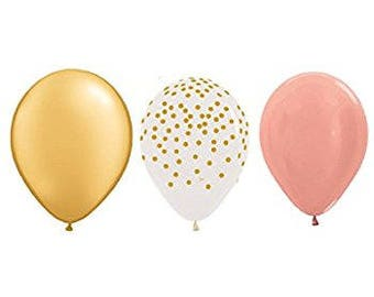 """Pink and Gold Confetti Balloons, Rose Gold Balloons, Gold 12"""" Baby Pink Balloons , Rose Gold Wedding Decor, Pink Birthday Party Balloons"""