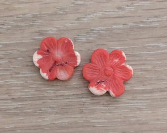 Coral Beads, Coral Flower Beads, Salmon Pink Coral