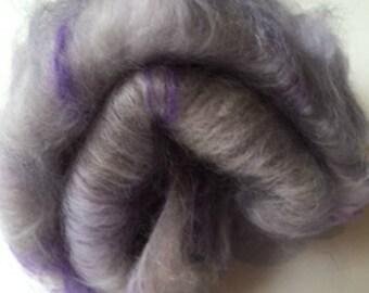 Carded Fibre Batt for Spinning and Felting/Art Batt/Spinning  Lavender Mix Mohair