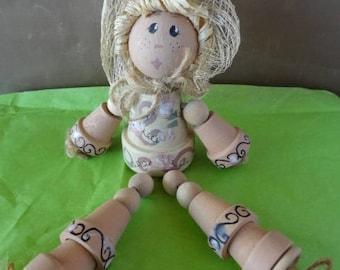 Hand Made Little Girl Shelf Sitter, Made From Pots, Twine & Wooden Balls