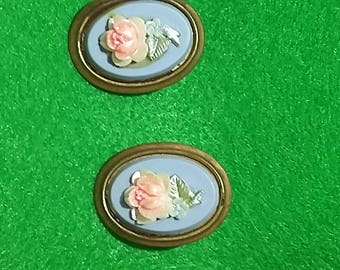 Vintage floral cameo style clip on earrings