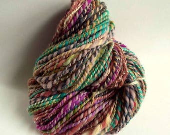 Thick knitting wool, HOTCH POTCH YARN. chunky yarn for knitting or crochet yarn / wool, handspun art yarn, multicolored wool