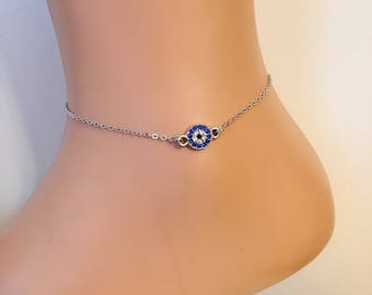 Silver Plated Evil Eye Anklets, Silver Anklet, Christmas Gift, Evil Eye Jewelry, Rhinestone Anklet, Amulet Bracelet, Birthday Presents, Vale