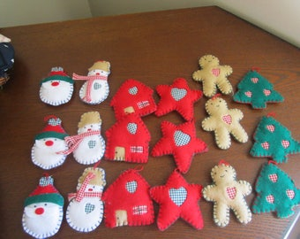Felt Christmas Tree Ornaments-Set of 18