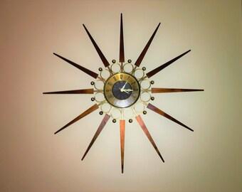 Gorgeous STARBURST CLOCK TEAK and Brass by Elgin Mid Century Modern 1950s