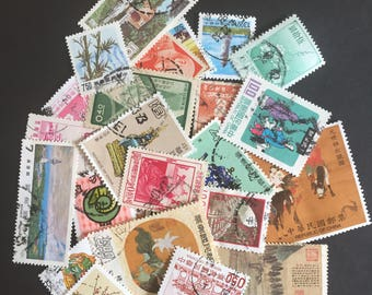 Taiwan China Craft Postage Stamps Lot of 30 Antique Vintage
