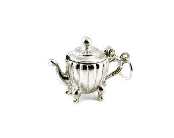 Sterling Silver Opening Coffee Pot Charm For Bracelets