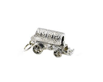 Sterling Silver Opening Covered Wagon Charm For Bracelets
