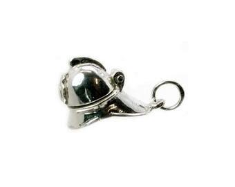 Sterling Silver Opening Fireman's Helmet Charm For Bracelets