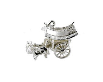 Sterling Silver Movable Ox Cart Charm For Bracelets